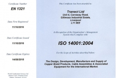 ISO 14001:2004 Environmental Certificate - Tranect Ltd