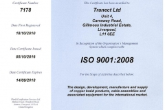 ISO 9001:2008 Quality certificate - Tranect Ltd