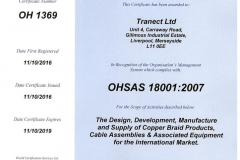 OHAS 18001:2007 Health and Safety Certificate - Tranect Ltd