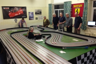 Close-racing at Hawthorne Park Slot Car Club, Bootle
