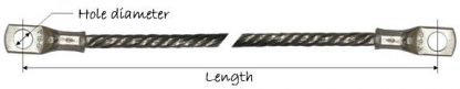 Round copper braid earth bonds - diagram