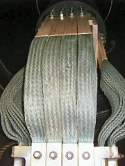 Copper braid connectors for connecting transformer to busduct at Enfield power station.